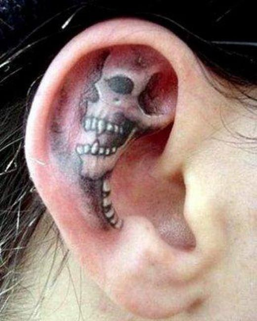 Ear Skull Tattoo