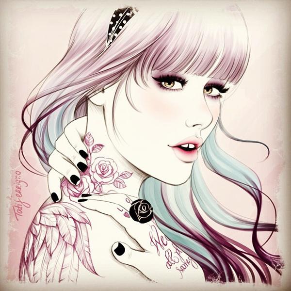 I love tattoo - Illustration by Tati Ferrigno