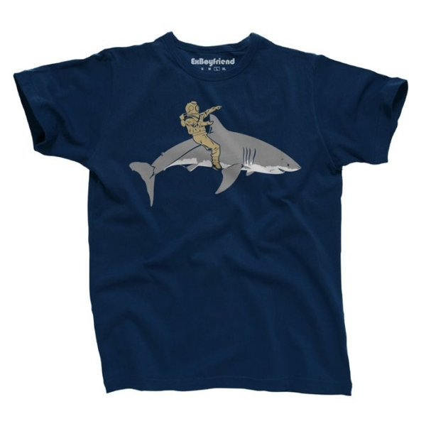 cbd40991e7bd2b03093855b28a4769fe Diver Riding Shark T-Shirt