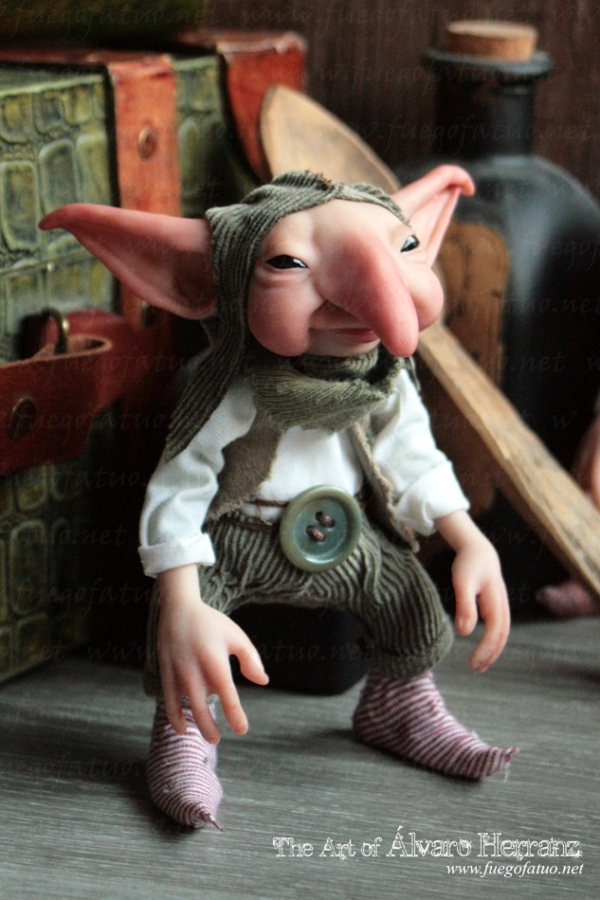 House Brownie - ooak art doll sculpture fairy brownie pixie goblin