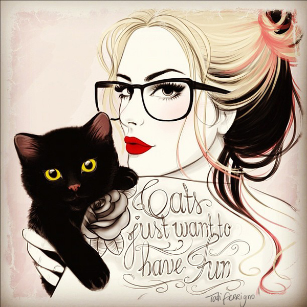 Cats just want to have fun - Illustration by Tati Ferrigno