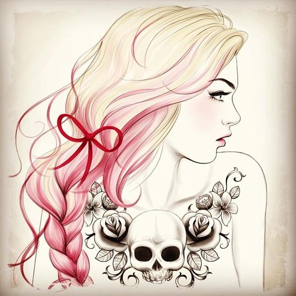 Skull tattoo - Illustration by Tati Ferrigno