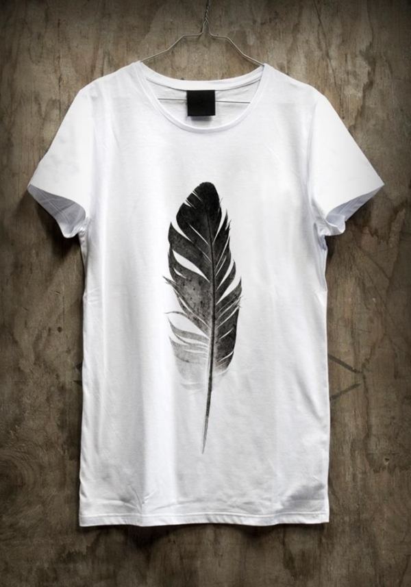 fe0b73588e13366c4b17198bf73217b2 feather t-shirt, cute with a jean vest and black jeans.