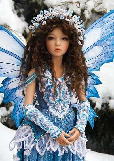 Exquisite Fairy doll-Winter Fairy outfit by Martha Boers.