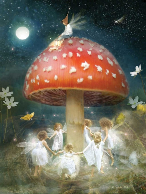 Fairies dancing happily around a toadstool under the full moon! Midsummer's Eve