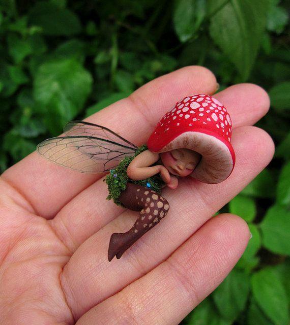 Tiny Sleeping Woodland Mushroom Fairy by Celia Anne Harris OOAK
