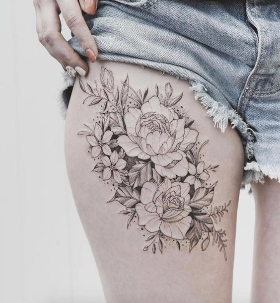 Peonies on thigh by Tritoan-Ly