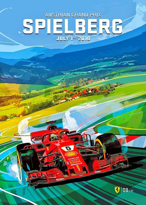 2018 Austrian Grand Prix at the Red Bull Ring in Spielberg, Austria - Ferrari's new poster