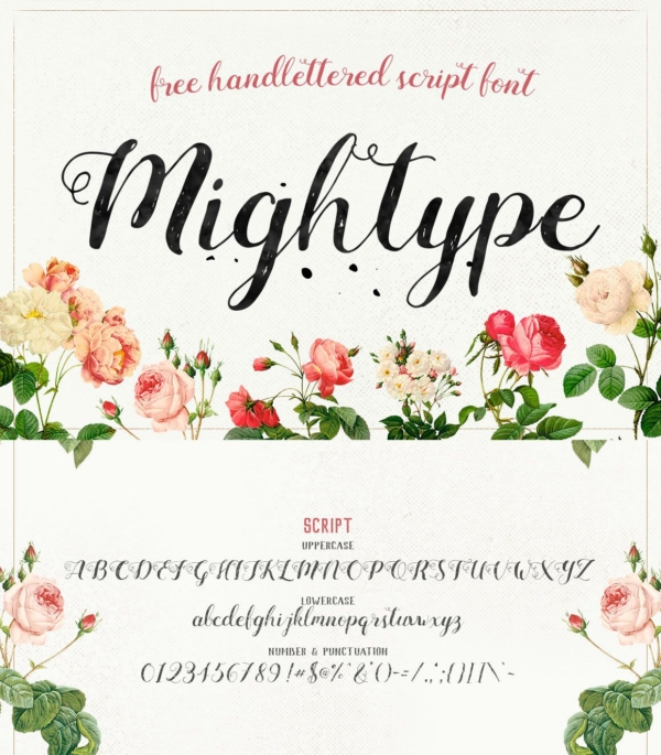 Mightype - Free Handlettered Font by Mats Peter Forss and Adam Fathony