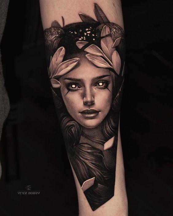 Portrait tattoo on men arm