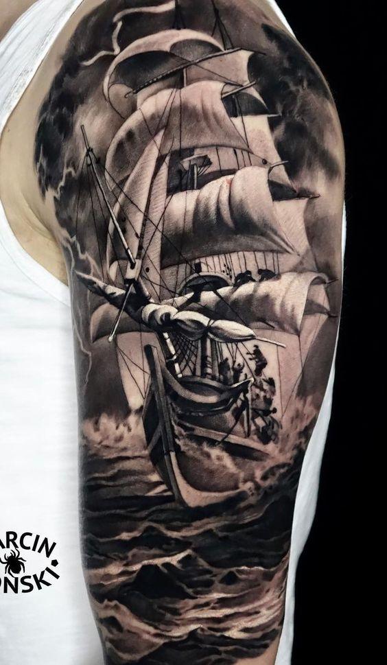 Ship arm tattoo